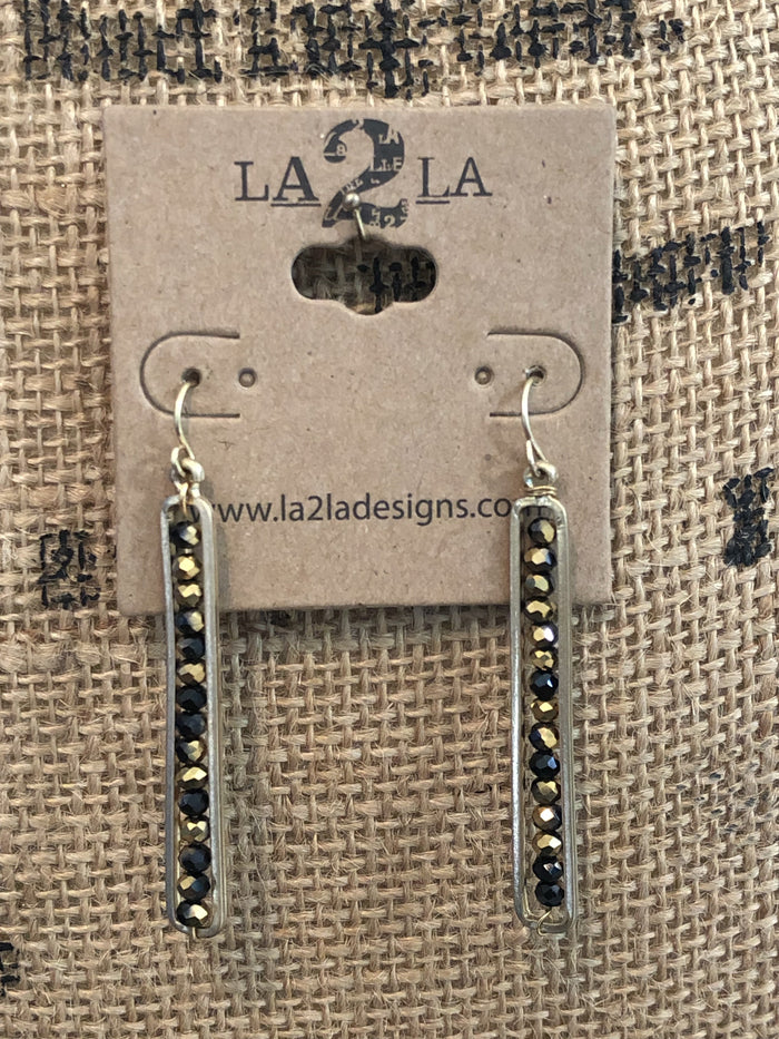 LA2LA Handmade Shiny Black & Gold Beaded Earrings