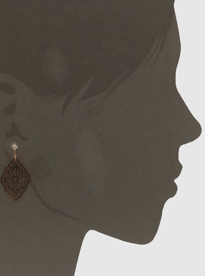 GOLD ORNATE STENCIL SHAPE METAL DISC DROP EARRINGS