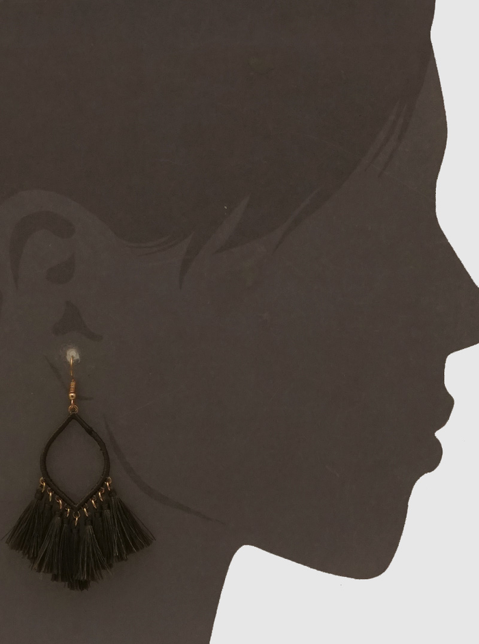 Olive Green Thread Tassels Drop Earrings