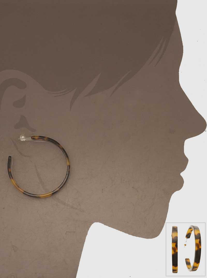 40 MM TORTOISE ACETATE HOOP EARRINGS