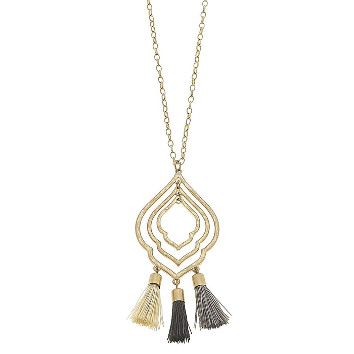 Multicolor Grey Tassel Moroccan Necklace