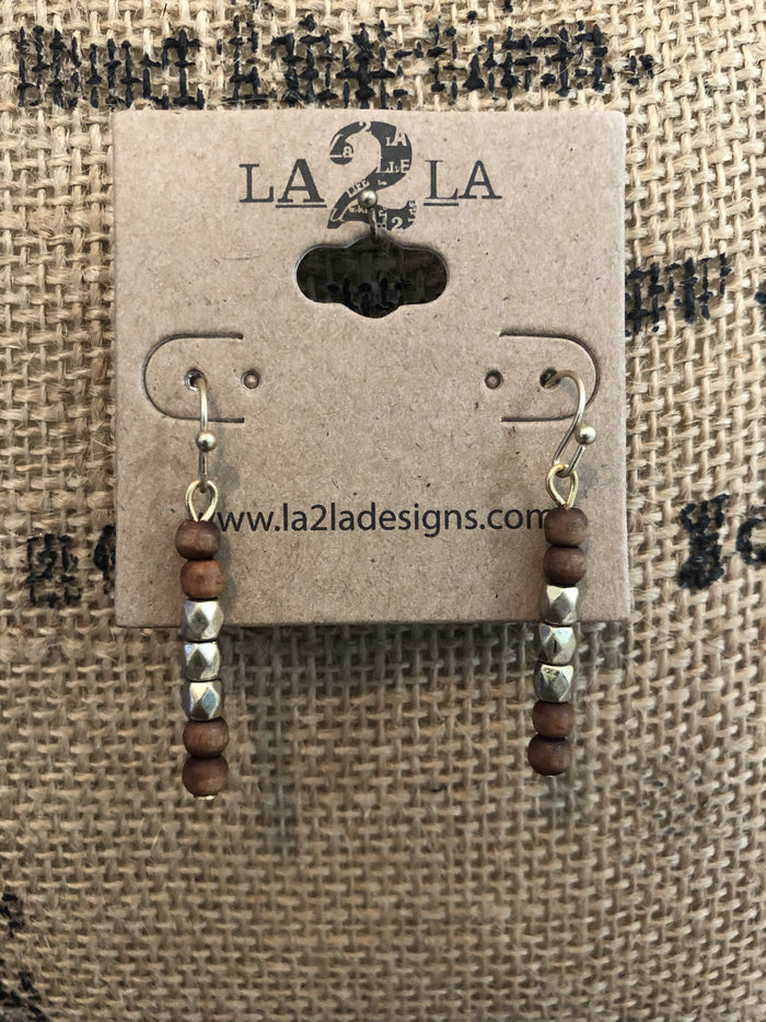 LA2LA Handmade Wood Beaded Bar Earrings