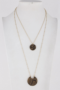 Faux Snake Skin Layered Necklace