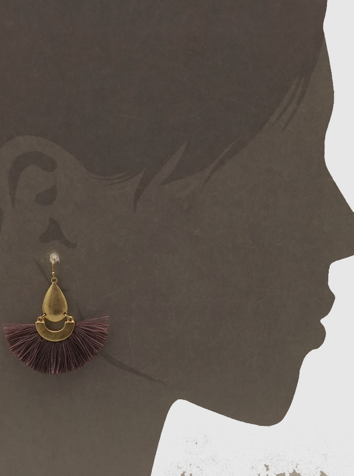 FAN SHAPE THRAD TASSELS DROP EARRINGS