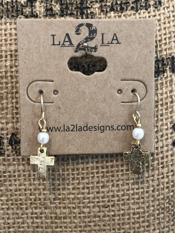 LA2LA Handmade Gold Cross Charm Earrings