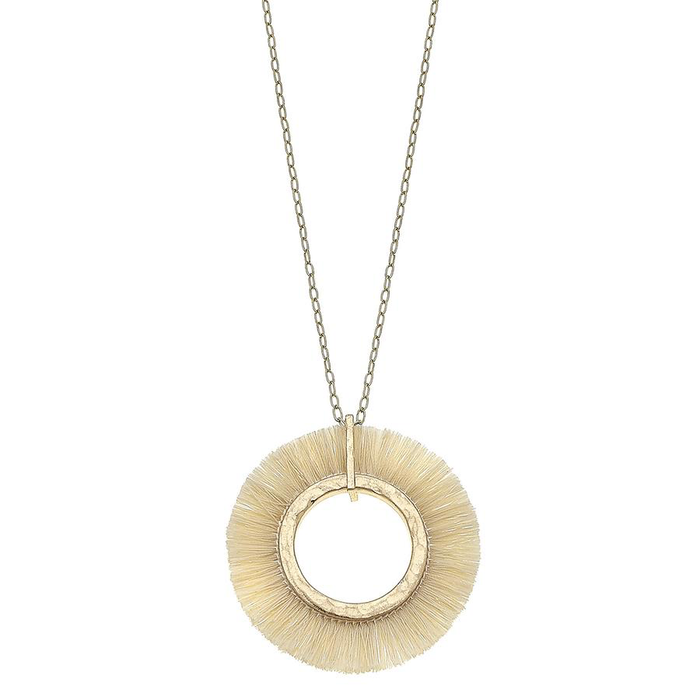 Round Circle Worn Gold Ivory White Tasel Necklace