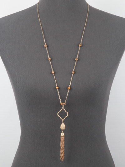 Long Chain Link Brown Beaded Tassel Necklace