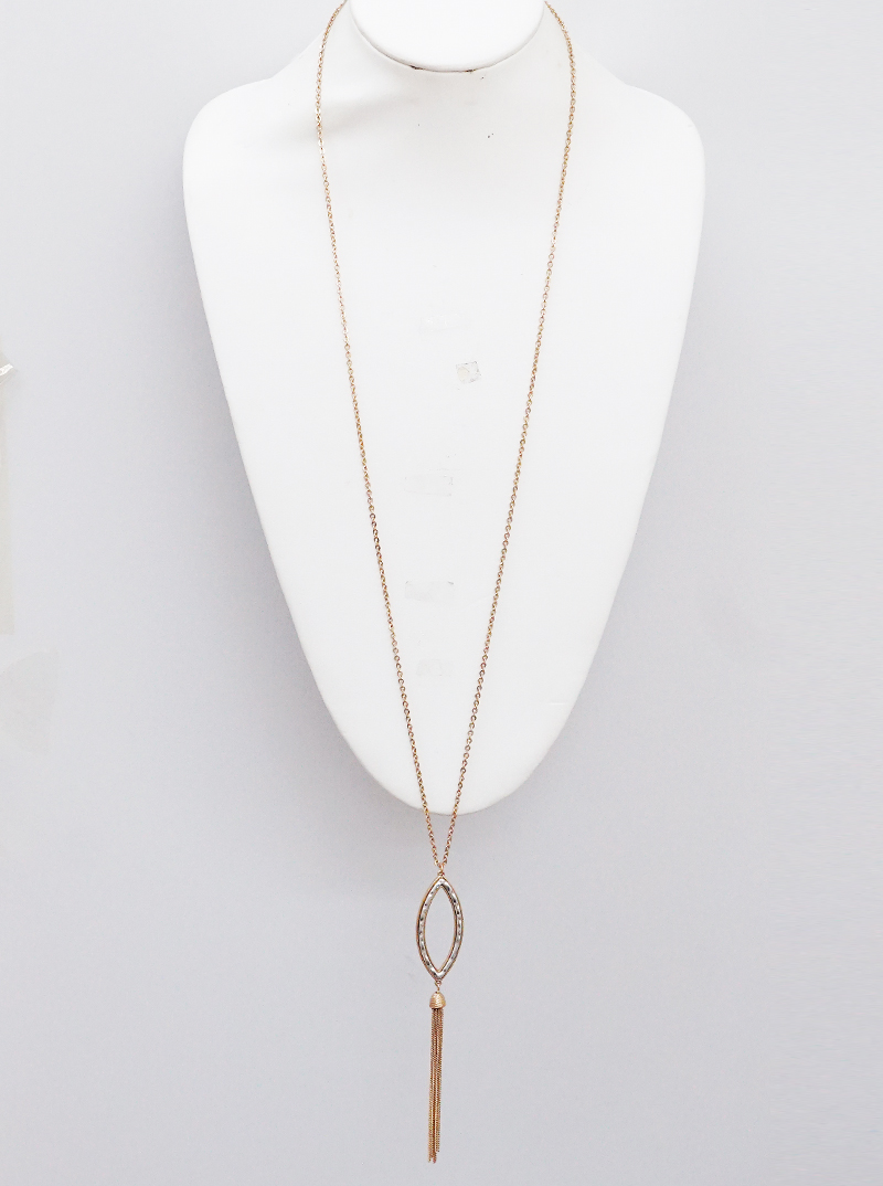 TWO TONES MARQUEE SHAPE LONG NECKLACE (EARRINGS NOT INCLUDED) 2