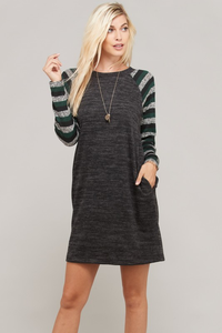Striped Long Sleeve Knit Dress Top