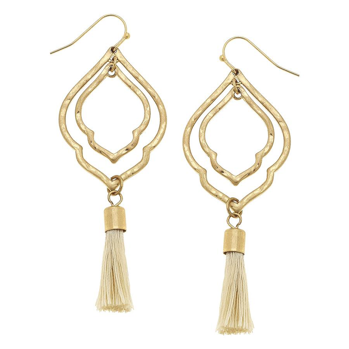 Ivory White Tassel Moroccan Drop Earrings
