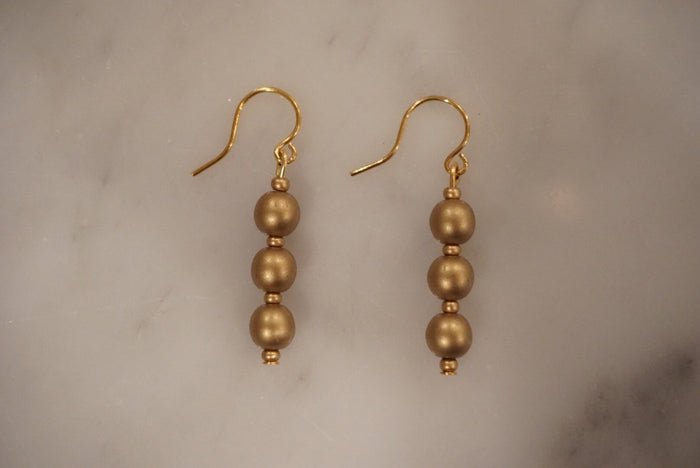 LA2LA Handmade Gold Beaded Earrings