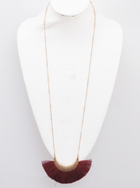 GOLD AND BURGUNDY HAMMERED METAL THREAD TASSEL LONG NECKLACE 2