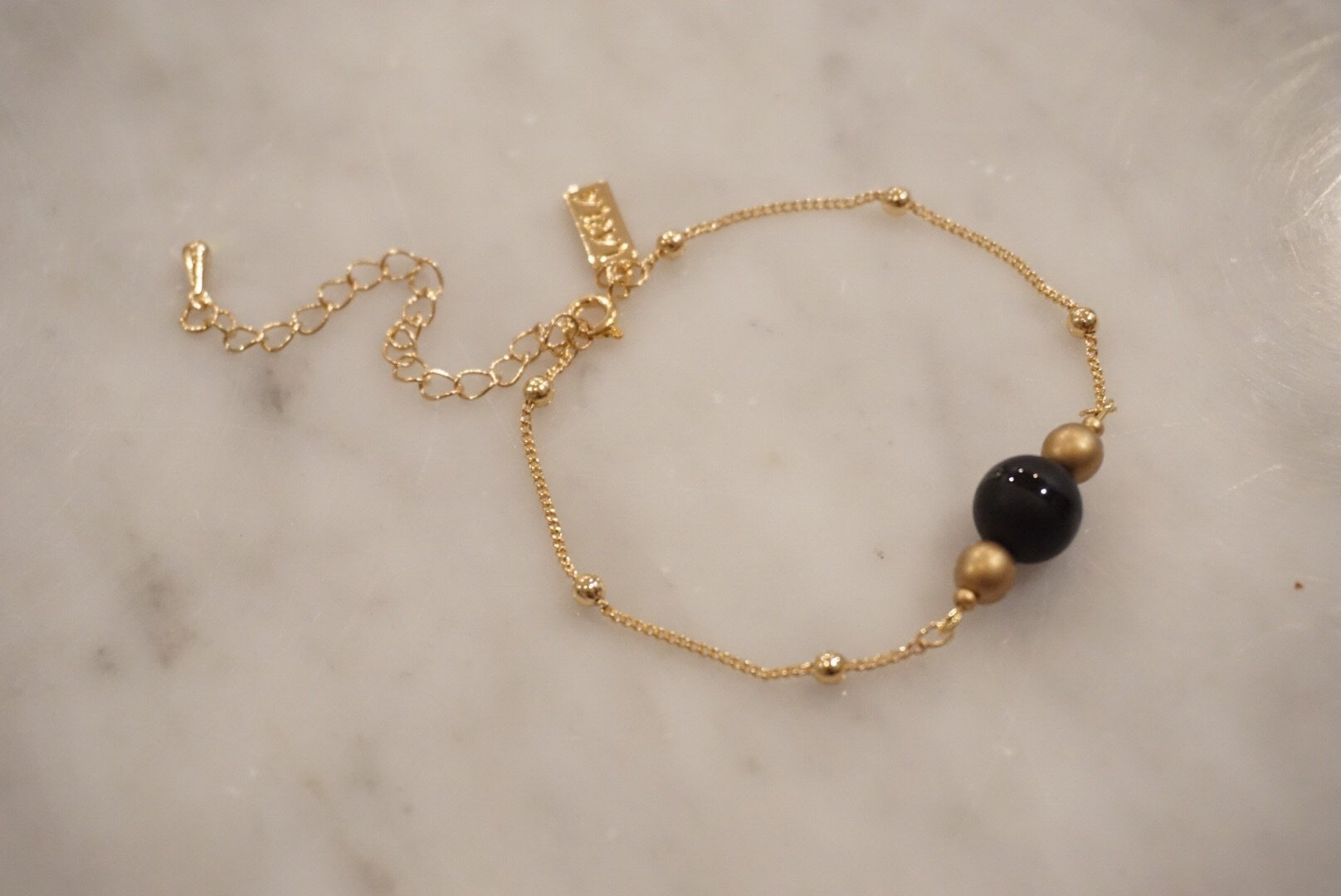 LA2LA Handmade Black And Gold Beaded Bracelet