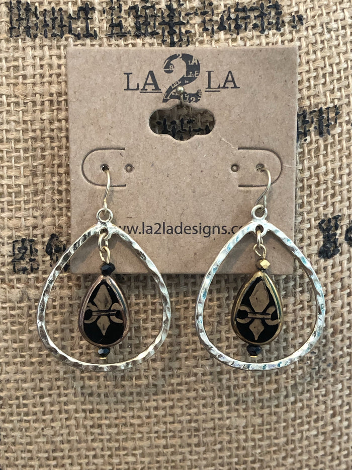 LA2LA Handmade Hand Painted Fleur De Lis Black & Gold Teardrop Earrings