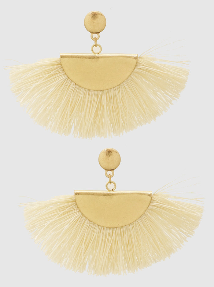 METAL FAN SHAPE THREAD TASSELS EARRINGS 8