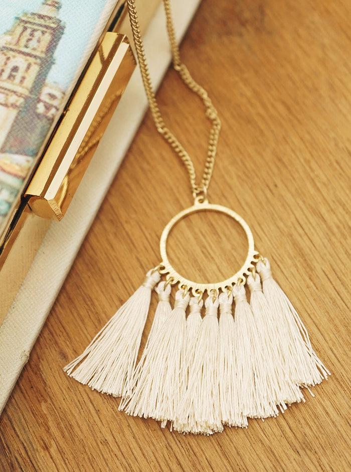 OPEN ROUND THREAD TASSELS DROP NECKLACE 34