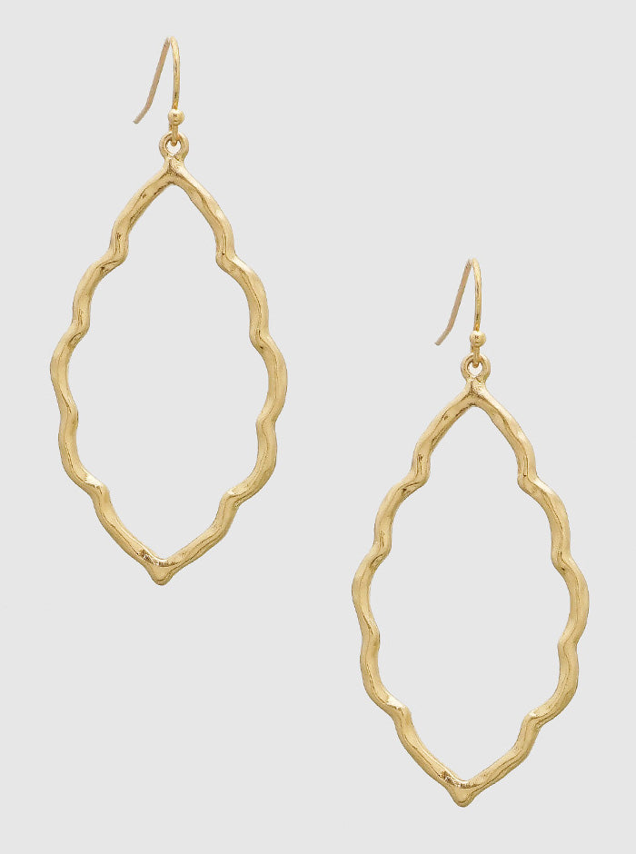 GOLD ORNATE SHAPE STENCIL HAMMERED METAL DROP EARRINGS