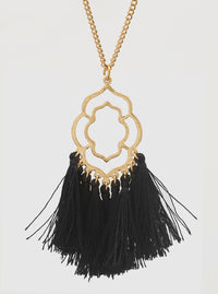 BLACK ORNATE SHAPE STENCIL THREAD TASSELS PENDANT LONG NECKLACE 2