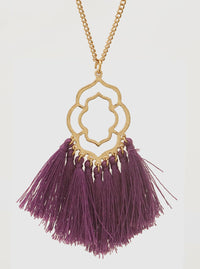 PURPLE AND GOLD ORNATE SHAPE STENCIL THREAD TASSELS PENDANT LONG NECKLACE 3