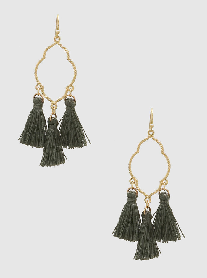 QUATREFOIL THREAD TASSELS DROP EARRINGS 20