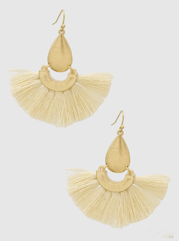 WHITE BEIGE TEARDROP THREAD TASSELS DROP EARRINGS 2