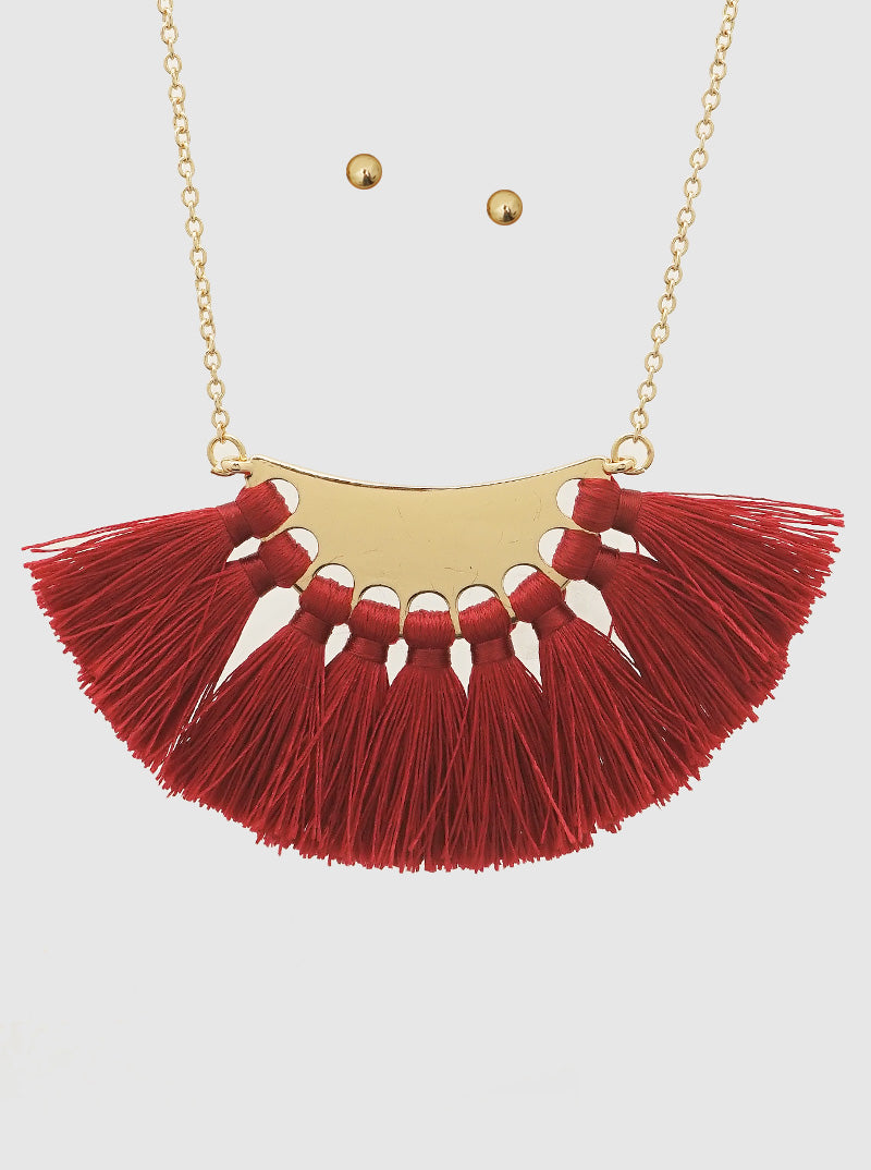 BURGUNDY THREAD TASSELS CRESCENT SHAPE LONG NECKLACE (EARRINGS NOT INCLUDED)