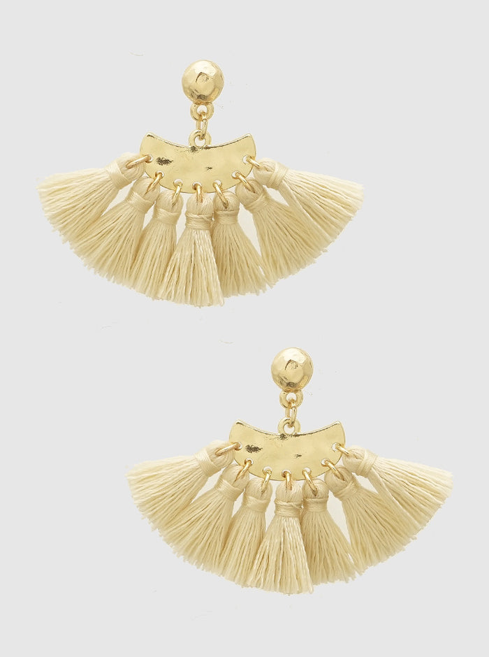 WHITE BEIGE THREAD TASSELS HAMMERED METAL EARRINGS 5