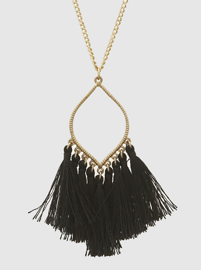 THREAD TASSELS MARQUEE SHAPE LONG NECKLACE 48