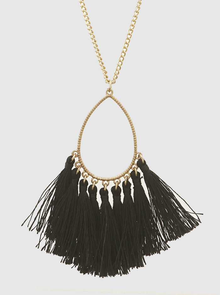 THREAD TASSELS TEARDROP LONG NECKLACE 46