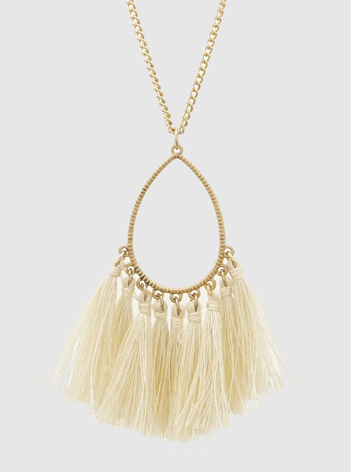 THREAD TASSELS TEARDROP LONG NECKLACE 45
