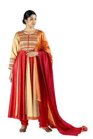 Beige and Red Silk Salwar