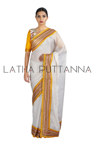 Sampige - Off-White Tissue Saree