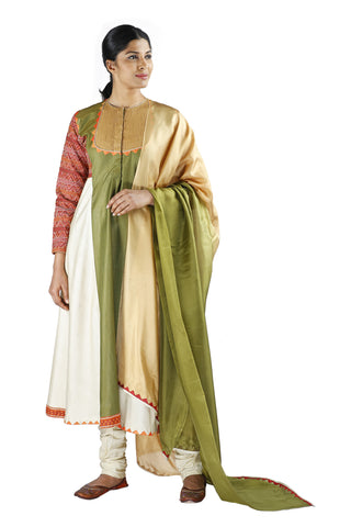 White and Green Silk Salwar