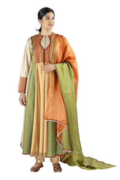 Green and Beige Silk Salwar