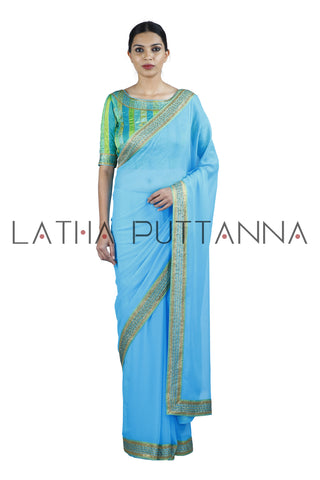 Jaji - Blue Saree with Multi-Coloured Blouse