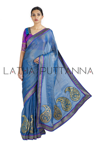 Sindhu -  Blue Tissue Saree with Paisleys on Pleats and Pallu