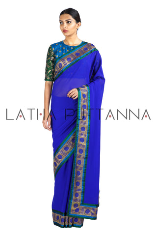 Bindhu - Blue Stunner with Polka Border