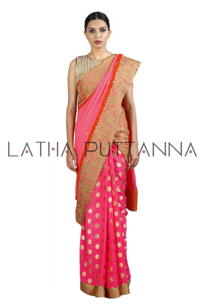 Shwetambri - Pink Saree with Woven Buttas