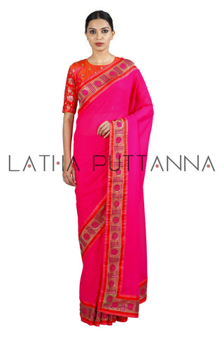 Bindhu - Pink Stunner with Polka Border