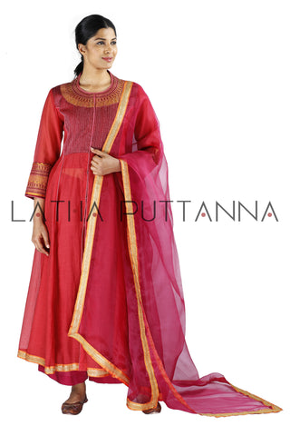 Red and maroon salwar