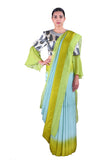 Light blue & Green silk Saree