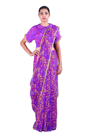 Purple Printed chiffon Saree