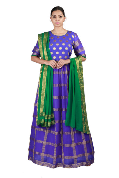 Purple and Green Lehenga