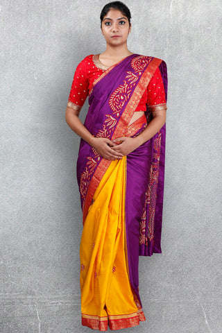 Purple-Yellow Half and Half Saree