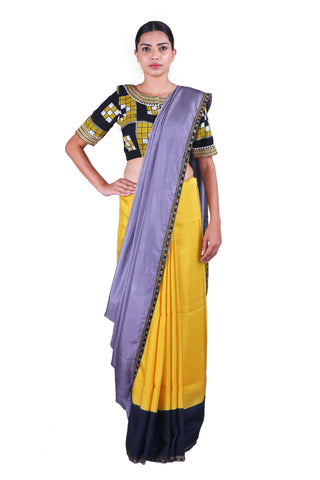 Grey & Yellow Saree