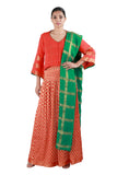 Orange and Green Lehenga