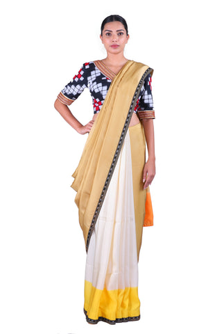 Beige & Off-White Saree