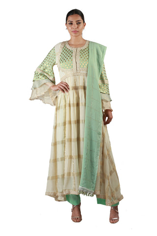 Off White with Green Salwar