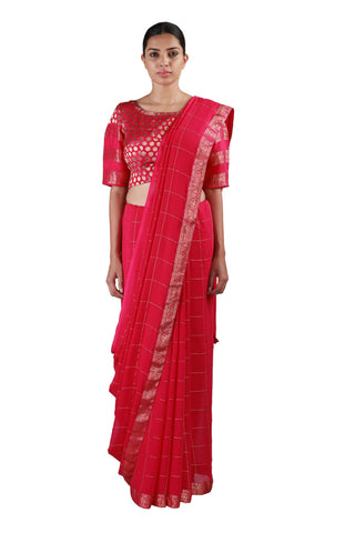 Pink Checks Saree