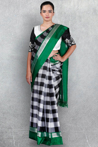 Checks Saree with Green Border